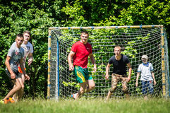 Yard Amateur football in the Kaluga region in Russia. Football game is very popular among young people and students. For this reason, in Russia often are stock image