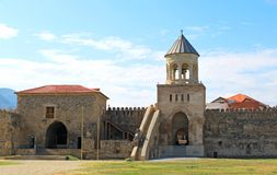 Yard and bell tower of Svetitskhoveli Cathedral Royalty Free Stock Photos