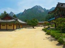 The yard of Buddhist Sinheungsa Temple in Seoraksan Stock Photos
