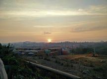 Yard de construction au coucher du soleil Photographie stock
