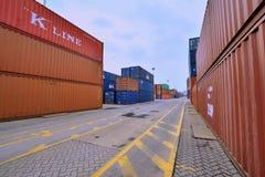 Yard de récipient de Xiamen dans Fujian, Chine Images libres de droits