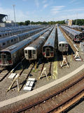 Yard de rail, NYC, NY, Etats-Unis image stock