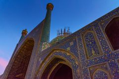 Yard der Schah-Moschee oder des Imams Mosque bei Sonnenuntergang in Isfahan iran Lizenzfreies Stockbild