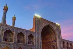 Yard der Schah-Moschee oder des Imams Mosque bei Sonnenuntergang in Isfahan iran Lizenzfreie Stockbilder