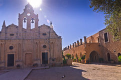 Yard at famous Arcady monastery, island of Crete Stock Photography