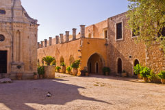 Yard at famous Arcady monastery, island of Crete Stock Image