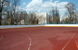 Yard football field with sports coverage Stock Image