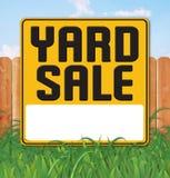 Yard Garage Sale Sign Backyard Fence Grass. Sky fun vector announcement flyer poster art logo royalty free illustration