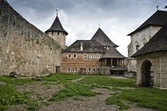 The yard of the Khotyn castle. Buildings in the yard in the Khotyn castle stock image