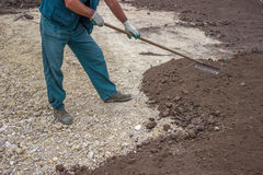 Yard Leveling Work 3 Royalty Free Stock Photo