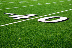 40 Yard Line on American Football Field Stock Photo
