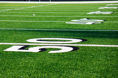 50 Yard Line at Football Field Royalty Free Stock Images