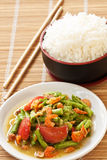 Yard long bean salad serve with thai jasmine rice Stock Photos