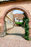 Yard in medieval Riquewihr town, France Royalty Free Stock Images