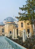 The yard of Mevlana Museum. The medieval graveyard next to Mevlana Mausoleum in Konya is the part of Museum of mevlevi order, Turkey Royalty Free Stock Image