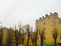 Yard mit Terrakotta-mit Ziegeln gedeckt Stockbilder