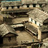 Yard in the Nepalese village. Traditional Nepalese house, trekking to the Annapurna. Base camp royalty free stock image