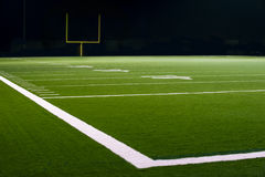 Yard Numbers and Line on American Football Field. 10, 20, & 30 Yard Line on American Football Field with Football Goal Post in distant Stock Photos