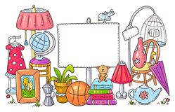 Free Yard Or Garage Sale Of Used Stuff With A Blank Frame Stock Photo - 174876020
