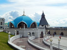 In the yard outside the Kol Sharif Mosque in the Kazan Kremlin in the republic Tatarstan in Russia. The shot was made in August, 2015 royalty free stock images
