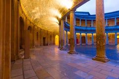 Yard of  Palace of Charles V at Alhambra in evening.  Granada Stock Image