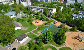 Yard with playgrounds in Zelenograd, Moscow. Yard with a playgrounds in Zelenograd, Moscow Royalty Free Stock Images