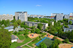Yard with playgrounds in Zelenograd, Moscow. Yard with a playgrounds in Zelenograd, Moscow Royalty Free Stock Image