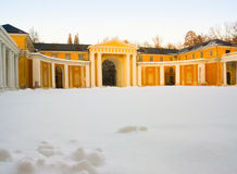 Yard of Russian classical palace Arkhangelskoe under snow. Russia, Moscow Region, Arkhangelskoe estate Stock Photo
