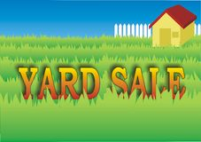 Yard Sale. Sign in the backyard of the house Royalty Free Stock Photo