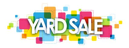 Free YARD SALE Banner On Colorful Squares Background Stock Photo - 121131580