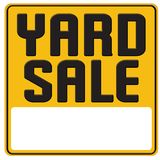 Yard sale sign graphic art poster. Yard sale garage sign graphic art announcement tin metal embossed yellow bold poster rummage spring cleaning post icon royalty free illustration