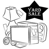 Yard Sale Items. An image of a computer, lamp, headphones and clock yard sale items royalty free illustration
