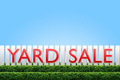 Yard Sale sign. On white fence and clear sky for copy space Royalty Free Stock Photos