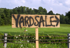 Yard sale sign. On country road Stock Photo
