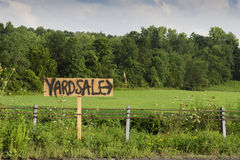 Yard sale sign. On country road Royalty Free Stock Image