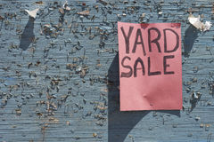 Yard sale sign. Posted on weathered community board (empty space for your text Royalty Free Stock Photo