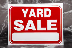 Yard Sale. A yard sale sign against a marble background Royalty Free Stock Images