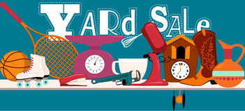 Yard sale sign. Yard sale banner with assorted household and sport items lying on a table, EPS 8 vector illustration, no transparencies Stock Photo