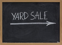 Yard sale sign on blackboard Royalty Free Stock Images