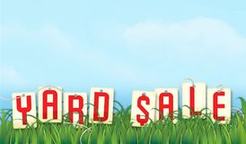Yard Sale Sign Graphic. Yard Sale Sign Art Graphic Vector Garage Grass Lawn Sky Blue Fun tag sales clouds vintage announcement poster flyer Royalty Free Stock Image