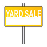 "Yard sale sign. An illustration of a yellow sign with the text ""yard sale Stock Photo"