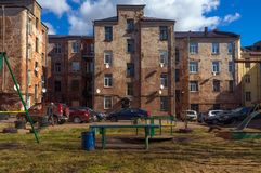 The yard. Spring. Russia. stock photo