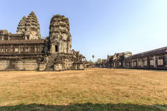Yard between second and third wall, Angkor Wat, Siem Riep, Cambodia. The lake in front of the Angkor Wat where tourist commonly stand here to take picture of Royalty Free Stock Image