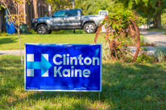 Yard sign at residential street for Presidential candidate Hillary Clinton 2016. Lexington, KY, USA - October 6, 2016: Clinton Kaine yard sign at residential royalty free stock image