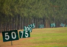 Yard signs in driving range Royalty Free Stock Images