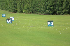 Yard signs in driving range Royalty Free Stock Photography