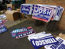 Lawn Signs, New Jersey Politics, Rutherford, NJ, USA. Yard signs endorsing Democrats Bob Menendez and Josh Gottheimer, incumbents seeking reelection to the US royalty free stock photo
