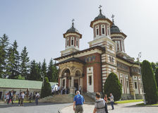 The yard of Sinaia monastery filled with tourists Stock Photography