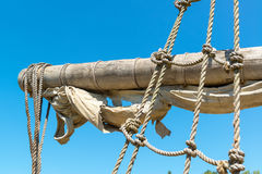 Yard and tackles of the sailing ship. Yard and tackles of the abandoned sailing ship Stock Images