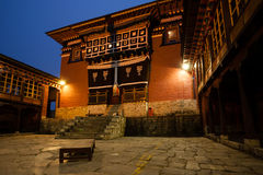 Yard of Tengboche monastery at night Royalty Free Stock Image